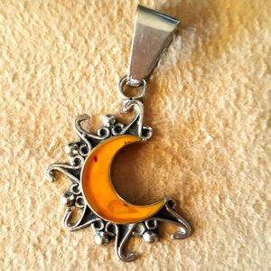 Jewelry - Amber silver moon and sun pendant